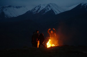 Family celebrating Newroz around one of the many fires in the valleys of Qandil